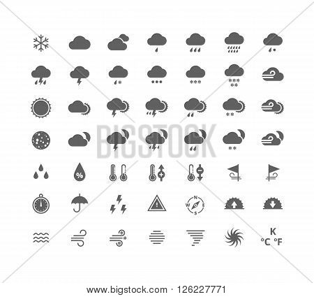 Gray silhouette weather icons set. Weather forecast widgets and apps design elements. Isolated on white background.