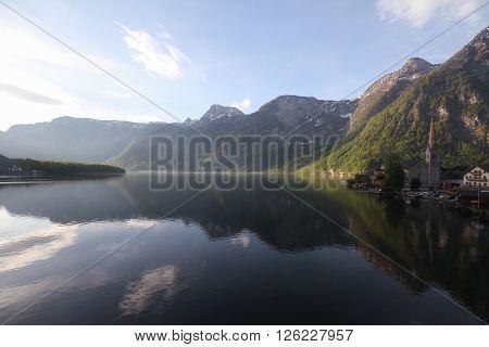 Dawn at Hallstatt Region of Salzkammergut alps Austria