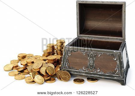 old wooden chest with gold coins. isolated on a white background. 3D illustration.