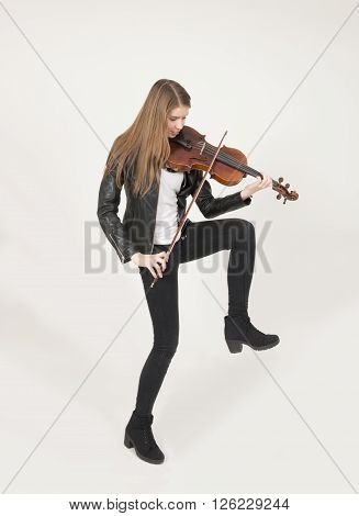 Portrait of young beautiful  teenage girl with viola