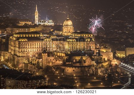 Buda Castle or Royal Palace in Budapest Hungary with Fireworks at Night