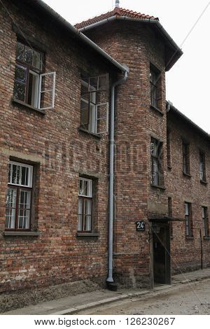 OSWIECIM Poland - May 09 2015: Buildings in former Nazi concentration camp Auschwitz I Poland