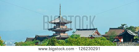 Jishu Jinja Shrine panorama in Kyoto, Japan.