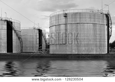 Big industrial oil tanks in a refinery base