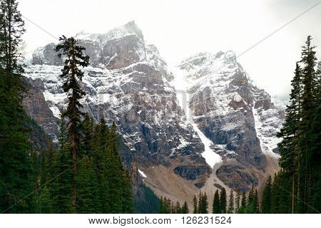 Snow capped mountain of Banff National Park in Canada