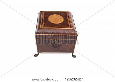 Side View Of An Antique Legged Wooden Jewelry Box
