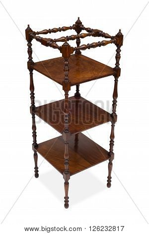 Corner View Of An Antique Wooden Square Whatnot