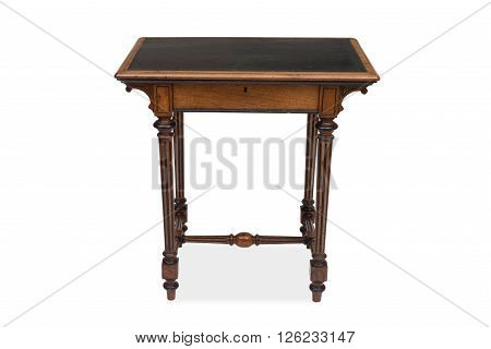 Front View Of An Antique Wooden Side Table