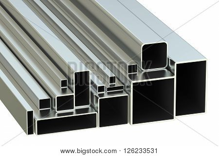 steel square tubes concept rolled metal. 3D rendering