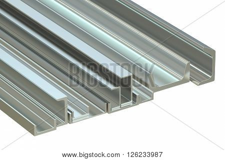 steel channels 3D rendering isolated on white background