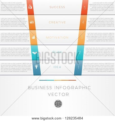 Vector illustration template of business infographic numbered five position