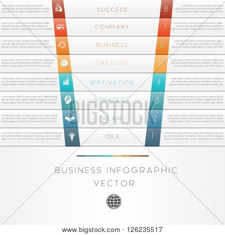 Vector illustration template of business infographic numbered eight position