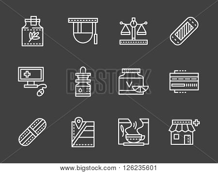 Manufacturing, packaging, analysis and sale of medicines. Pharmacy and drugstore. Set of white simple line vector icons on black background. Web design elements for site, business, mobile app.