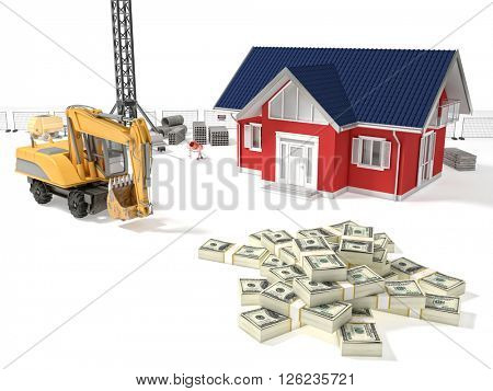 3d model house and construction site