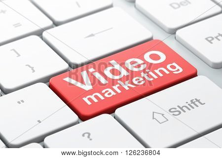 Advertising concept: Video Marketing on computer keyboard background