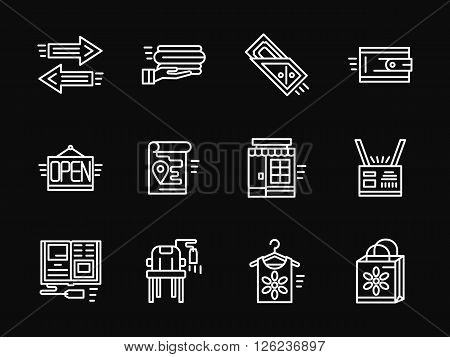 Shopping and e-commerce symbols. Online shopping. Store elements. Set of white simple line vector icons on black background. Web design elements for site, business, mobile app.