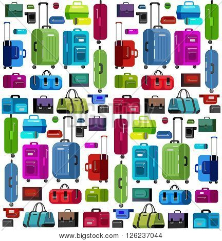Travel bags in various colors.Travel bags in various colors. Luggage suitcase and Travel  bag isolated on white background. Vector travel bags. Illustration bag pattern isolated on white background.