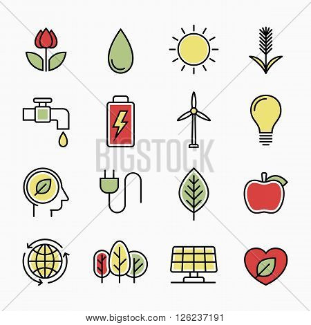 Ecology nature line icons, vector design illustration