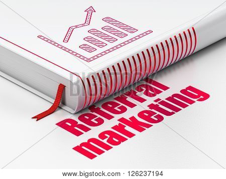 Advertising concept: book Growth Graph, Referral Marketing on white background