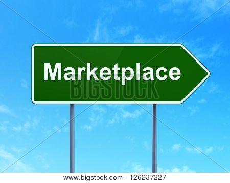 Marketing concept: Marketplace on road sign background