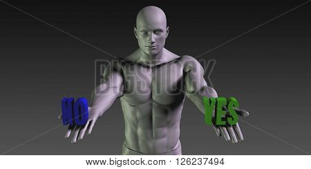 Yes vs No Concept of Choosing Between the Two Choices 3D Illustration Render