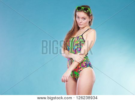 Happy Shy Woman Girl In Swimsuit. Summer Holiday.