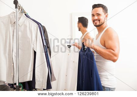 Happy Guy Getting Dressed At Home