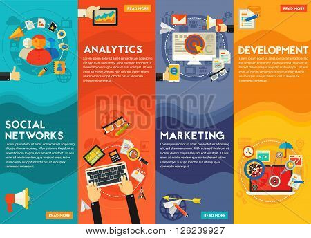 Digital Marketing Concept - social marketing and networking, development and coding, digital and email marketing, analytics and SEO. Flat style vector vertical online web banner