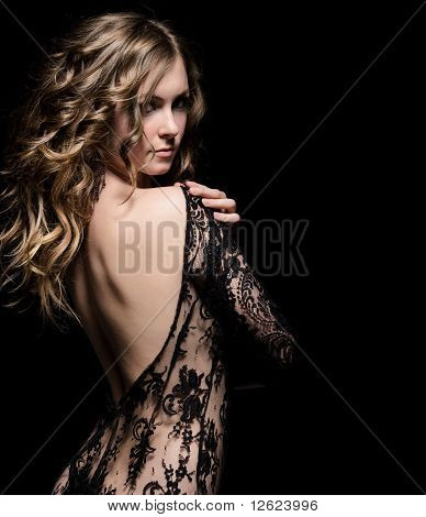Young Beauty In Lace Dress