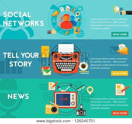 Telling A Story, ews and Social Networking concept banners. Flat style vector illustration online web banners