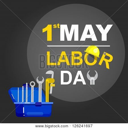 Labor day card design. Labor day vector illustration with construction tools. Labor day typography