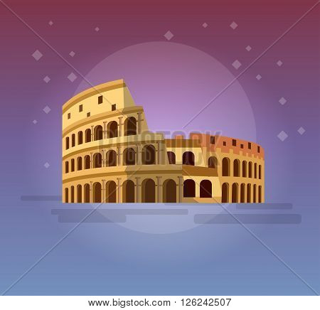 High quality, detailed most famous World landmark. Coliseum in Rome, Italy. Colosseum vector illustration. Travel vector. Travel illustration. Travel landmarks. Happy travel
