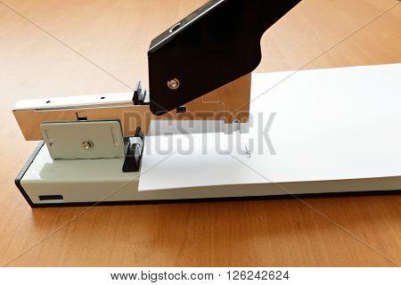 Stapler in progress staple in the paper on the table