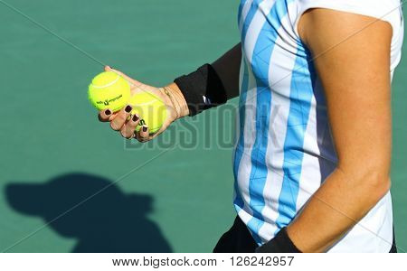 KYIV UKRAINE - APRIL 17 2016: Close-up details of Argentinian Maria Irigoyen's equipment during BNP Paribas FedCup World Group II Play-off game against Maria Irigoyen of Argentina
