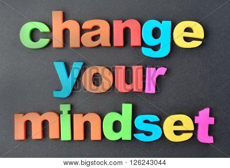 Change your mindset words on black background