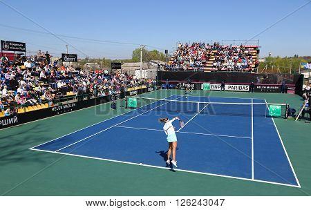KYIV UKRAINE - APRIL 17 2016: Central court of Campa Bucha Tennis Club during BNP Paribas FedCup game Ukraine vs Argentina Kyiv Ukraine