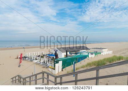 THE HAGUE NETHERLANDS - OCTOBER 3 2015: Almost abandoned beach restaurant at the north sea on a sunny autumn day