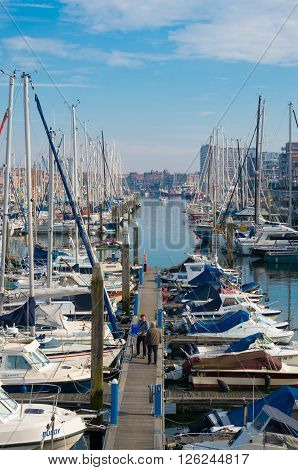 SCHEVENINGEN NETHERLANDS - OCTOBER 3 2015: Yachts in Scheveningen marina on a sunny day