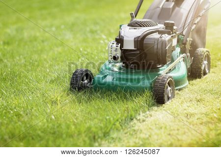 Mowing or cutting the long grass with a green lawn mower in the summer sun