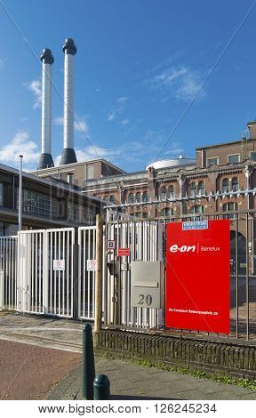 THE HAGUE NETHERLANDS - OCTOBER 3 2015: Exterior of the E.ON power station the oldest still in use power station in the netherlands.