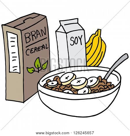 An image of a Bran cereal with bananas and soy milk.