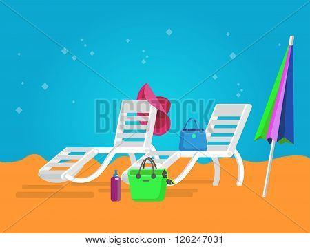 vector beach chaise longue, beach chaise longue illustration on background. Vector beach chaise longue