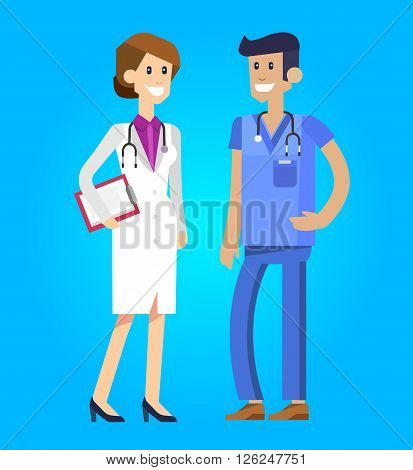 Vector detailed doctor character man, doctor  woman and nurse. Medical doctor team. Vector illustration doctor. Funny character doctor.