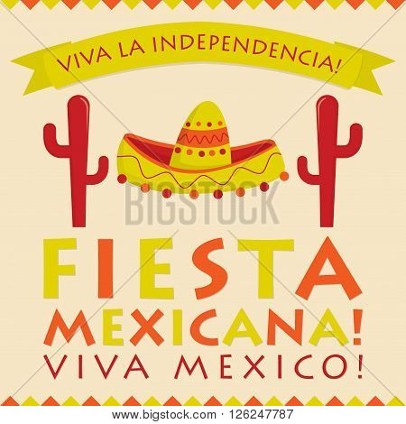 Retro Style Mexican Fiesta Card In Vector Format.