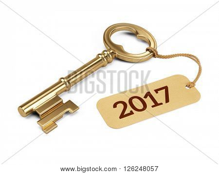 Golden Key with 2017 year tag isolated on white. 3d rendering