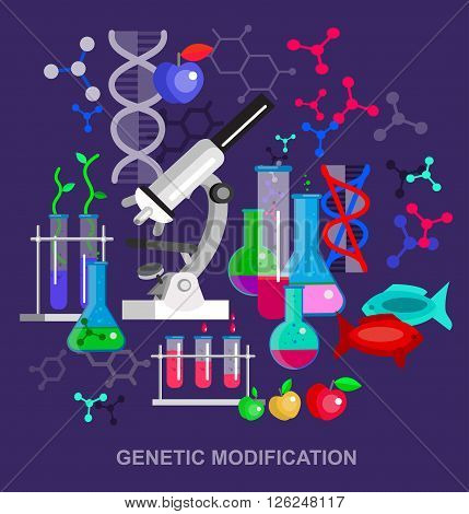 Biotechnology science concept, composition of genetic engineering, nanotechnology and genetic modification with microscope