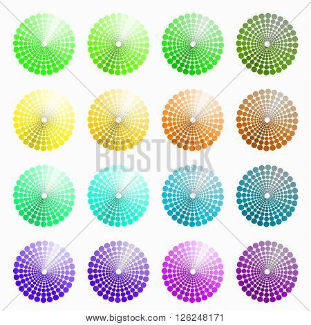 a set of circular colored green yellow. vector illustration