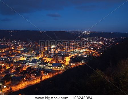 Looking down over the city of Johnstown Pennsylvania at night.