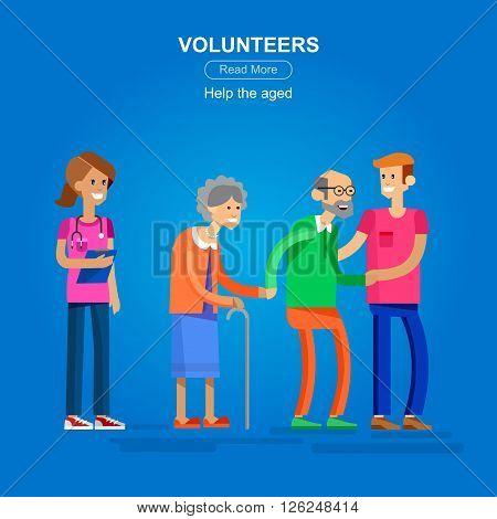 Vector detailed character Volunteer design concept with woman Volunteer  and a man Volunteer  helping elderly people. Vector Volunteer