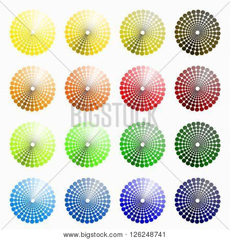 a set of circular colored yellow orange. vector illustration